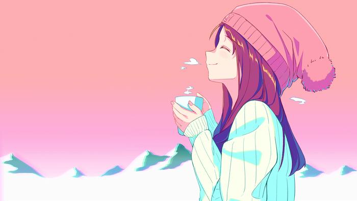 fond d écran fille rose avec des montages enneigés fille aux cheveux chatains pull blanc tasse de café