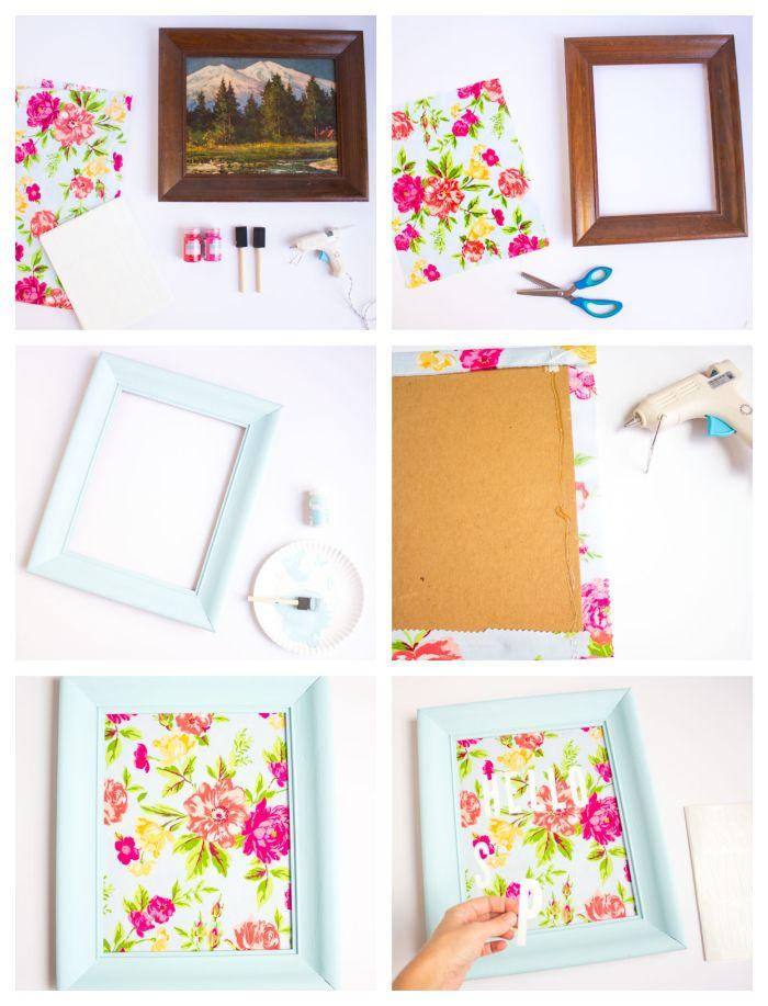 idée comment faire un cadre peinture avec decoration tissu imrpimé fleuri exemple de bricolage de printemps adulte