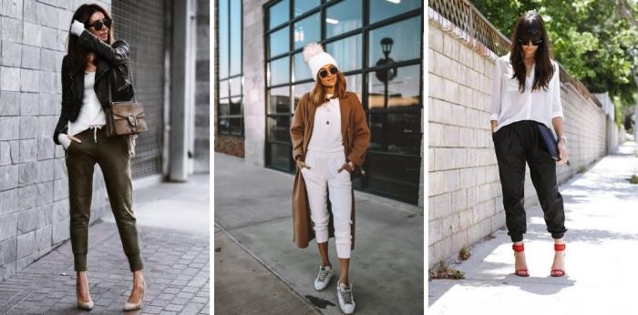 idée comment porter un pantalon sportif dans tenue femme chic veste cuir noir sandales talons beige