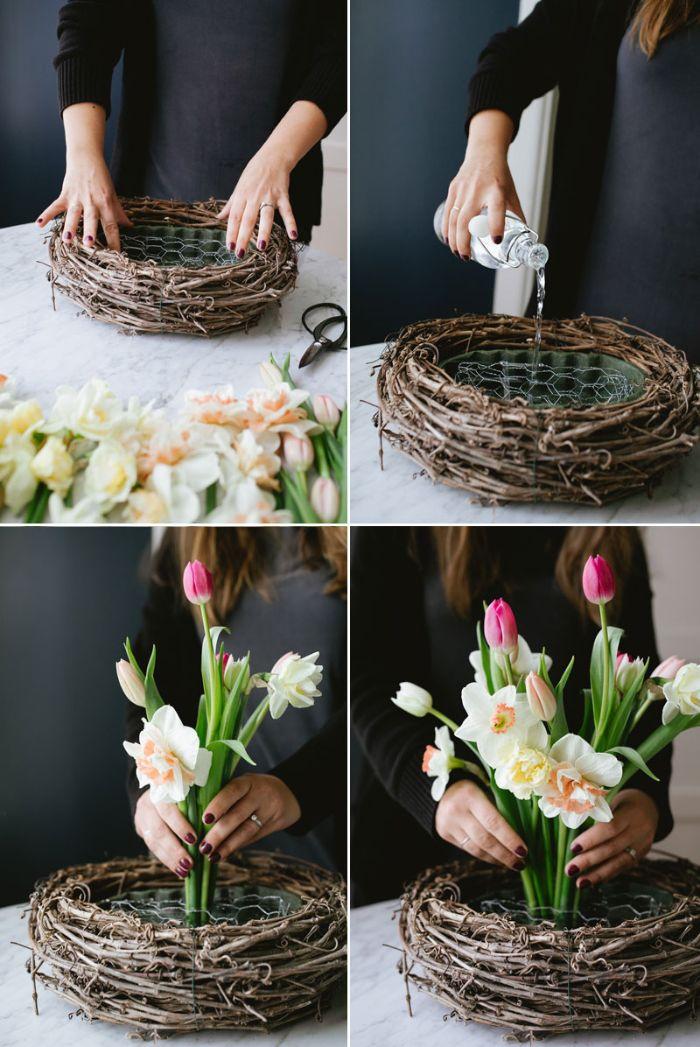 idée de centre de table floral en fleurs de printemps dans nid en branches tresssées exemple activité manuelle printemps