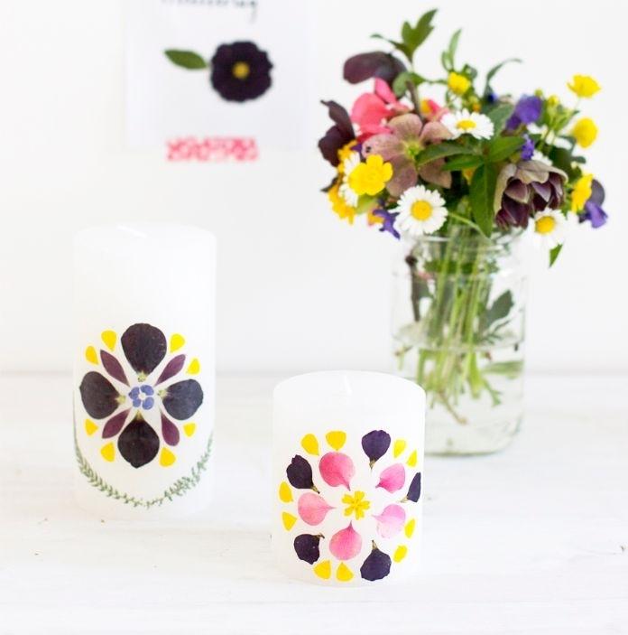 idée de décoration printaniere originale bricolage adulte loisirs créatifs bougies fleuries maison décorées de pétales de fleurs