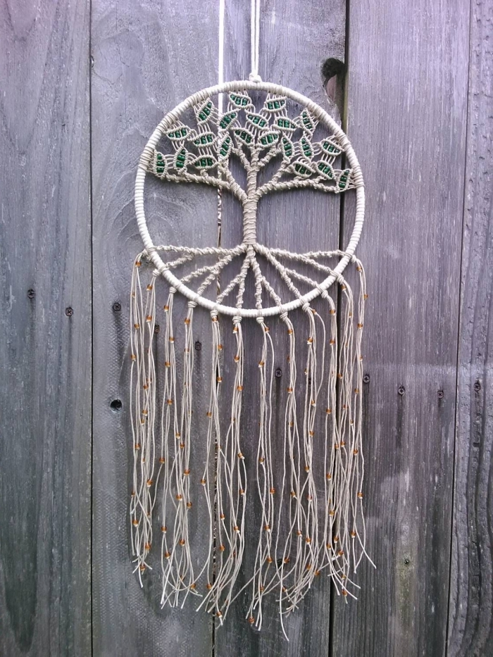 idée tuto attrape reve arbre de vie pour faire attrape reve cordon coton 2 mm couleur beige