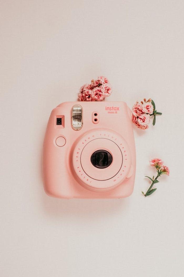 image appareil photo instax mini et petites fleurs sur fond blanc cassé original