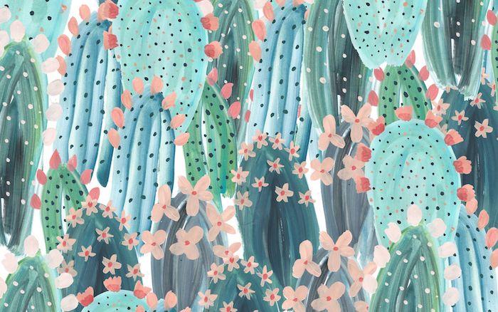 image pastel de cactus aux fleurs idée peinture tableau pour fond d écran chic