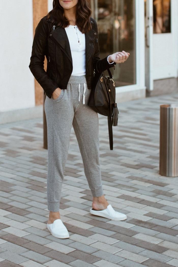 image swag idée tenue streetweat pantalon gris taille haute top blanc veste noir chassures plates