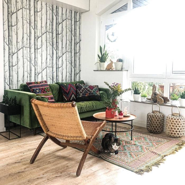 kaki couleur meubles design intérieur papier peint paysage coussins motifs ethniques multicolore