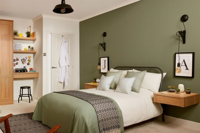 kaki couleur peinture murale jeté lit motifs géométriques linge de lit couleur vert foncé