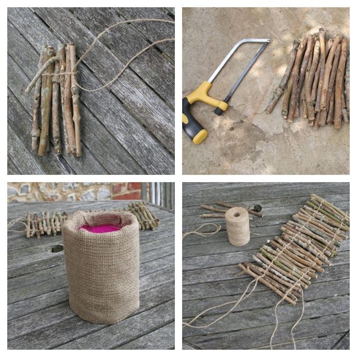 le processus de décoration d un pot a fleur avec des brindilles et de tissu de jute