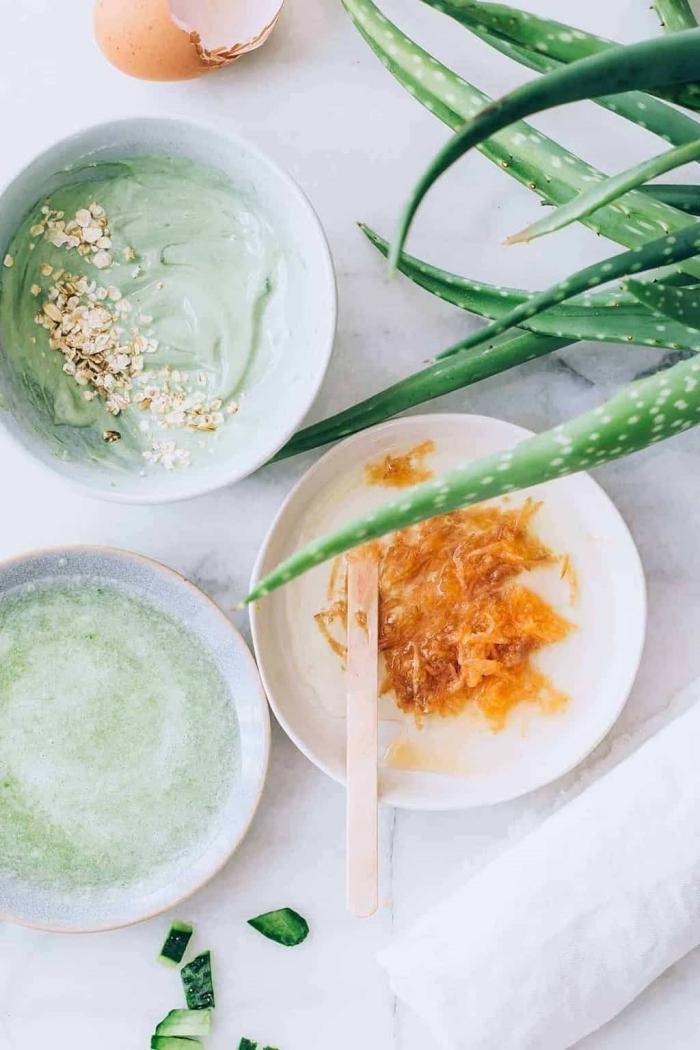 les bienfaits de l aloe vera pour le corps et le visage préparation masque cheveux maison oeuf