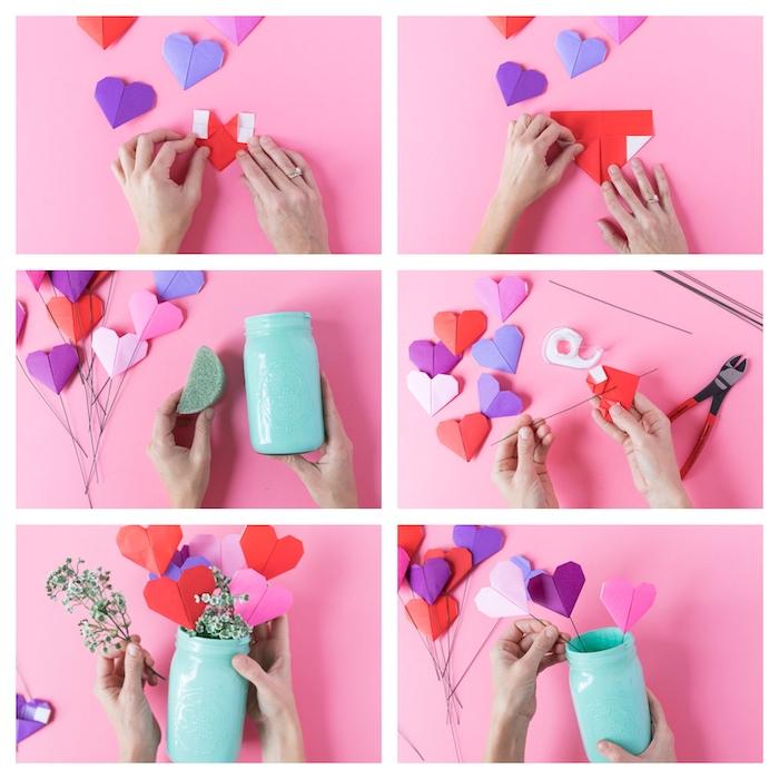 les etapes pour elaborer deco centre de table avec une vase et des coeurs origami