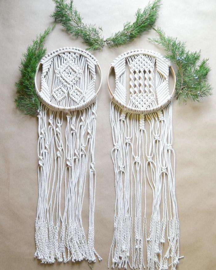 macramé tuto simple fabrication suspension murale avec cordon coton noeud spirale macramé plat