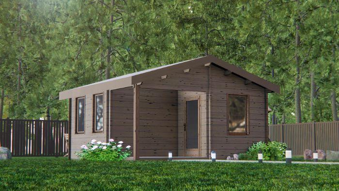 maison dans la foret construction en bois fonce