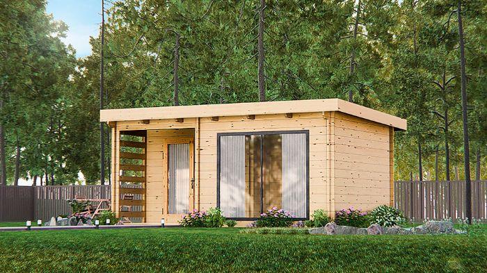 maison dans la foret jolie pelouse verte construction en bois clair
