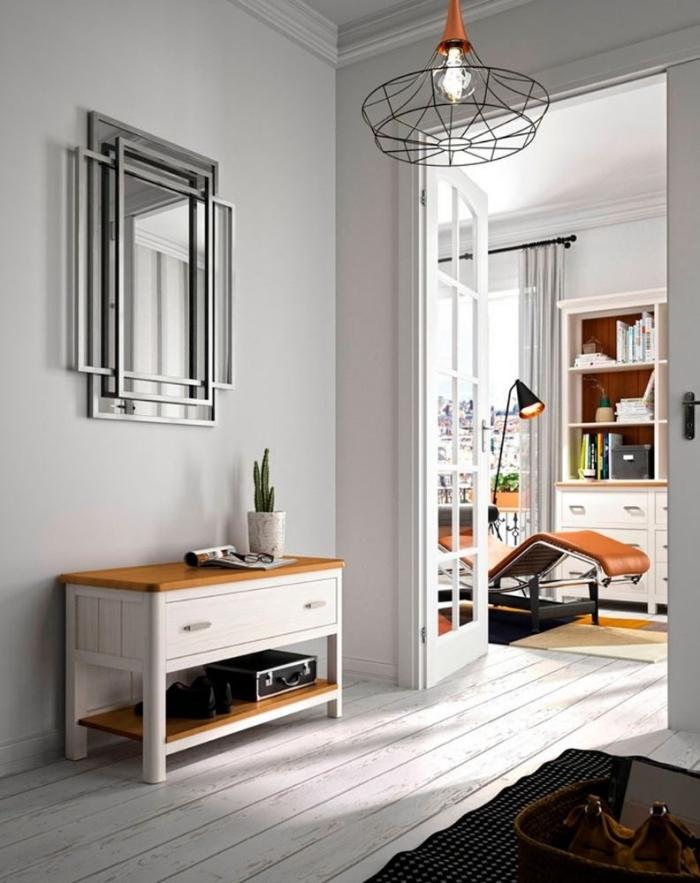 meuble bois et blanc rangement couloir idée déco entrée maison peinture gris clair accents métal