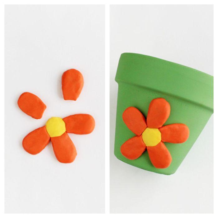 motif fleur réalisé dans pâte fimo bricolage primaire adulte deco pot de fleur printemps facile deco