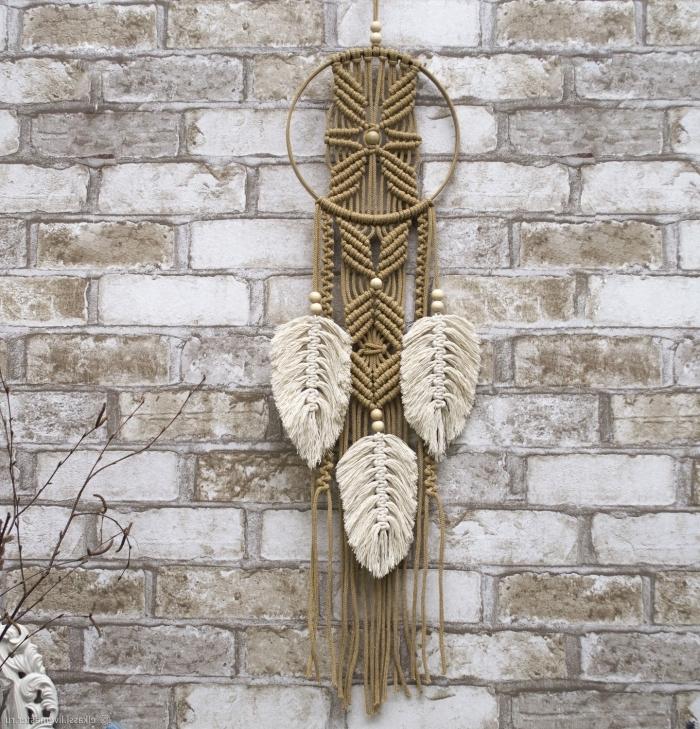 mur en briques papier peint 3 d diy décoration macramé mini attrape reve plume macramé perles bois
