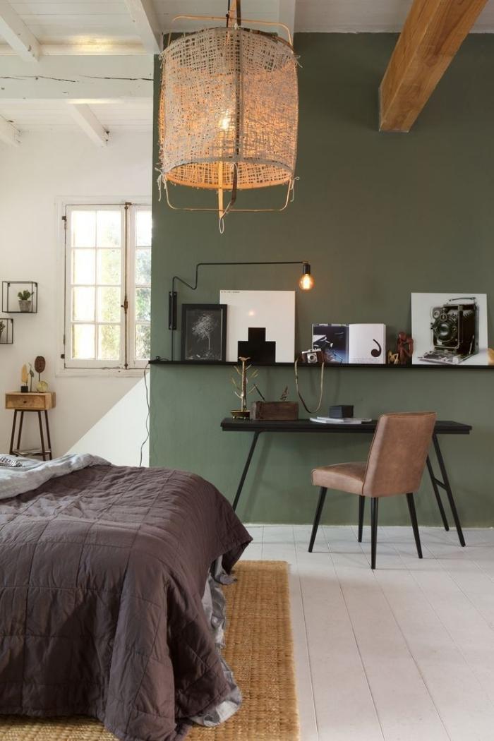 mur kaki bureau à domicile comment aménager coin télétravail dans sa chambre peinture verte
