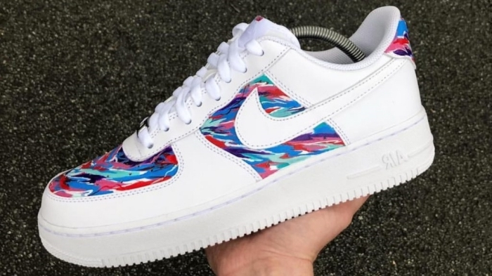 nike air force custom décoration multicolore peinture pour cuirs textile baskets sport