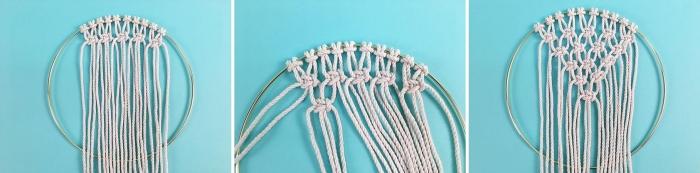 noeud macramé de base noeud tête d alouette noed plat comment faire rangée noeuds macramé