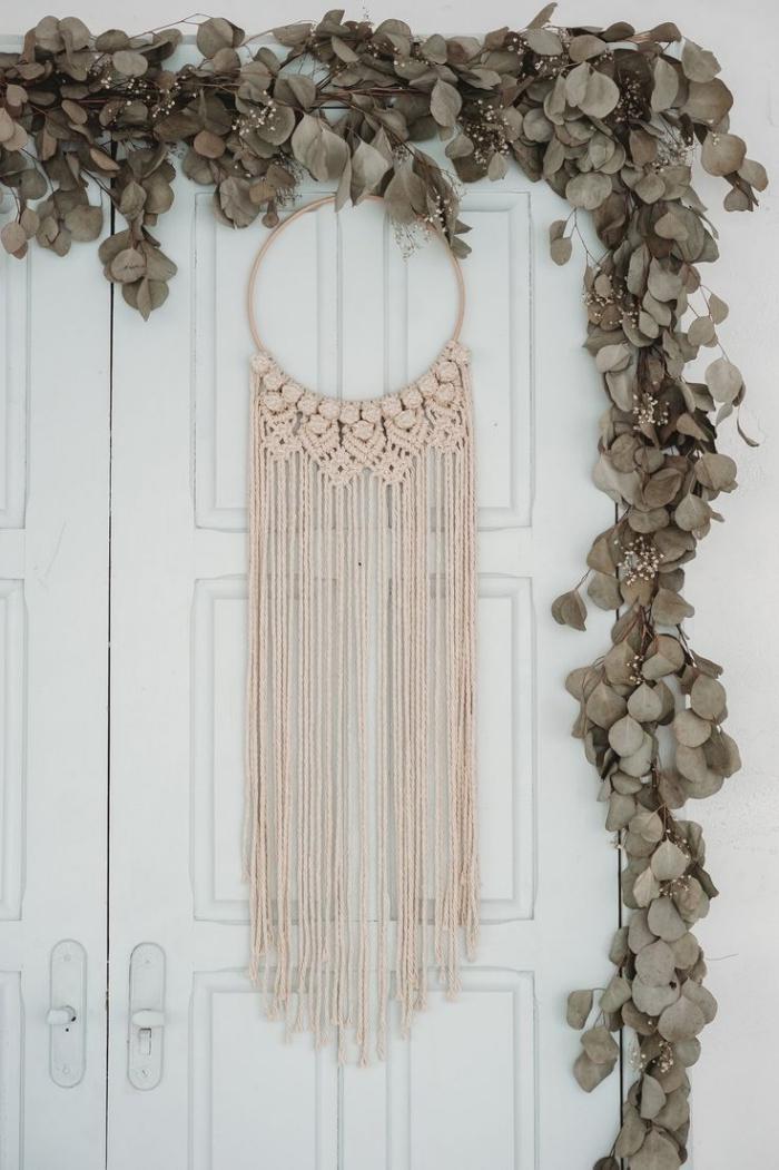 noeud macramé facile fleur suspension couronne porte d entrée cordon beige macramé cotton tissage