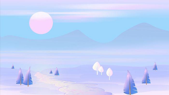 paysage stylisé en bleu et blanc avec soleil rose et rivière fond d ecran pastel creatif en tons pales