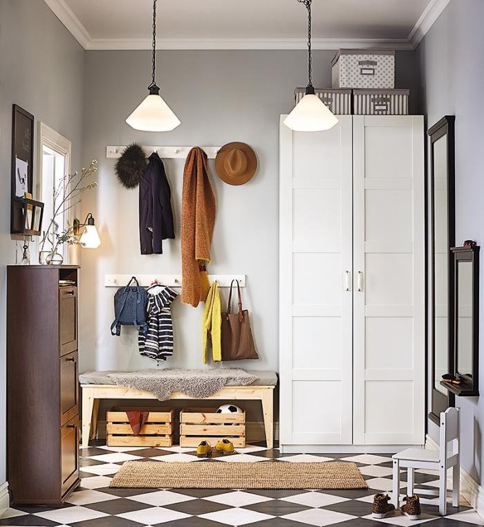peinture couloir moderne nuance de gris meuble bois blanc tapis jute rangement cagette bois