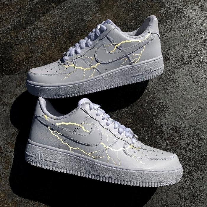 peinture gris clair pour chaussures personnaliser air force 1 baskets blanches dessin éclair