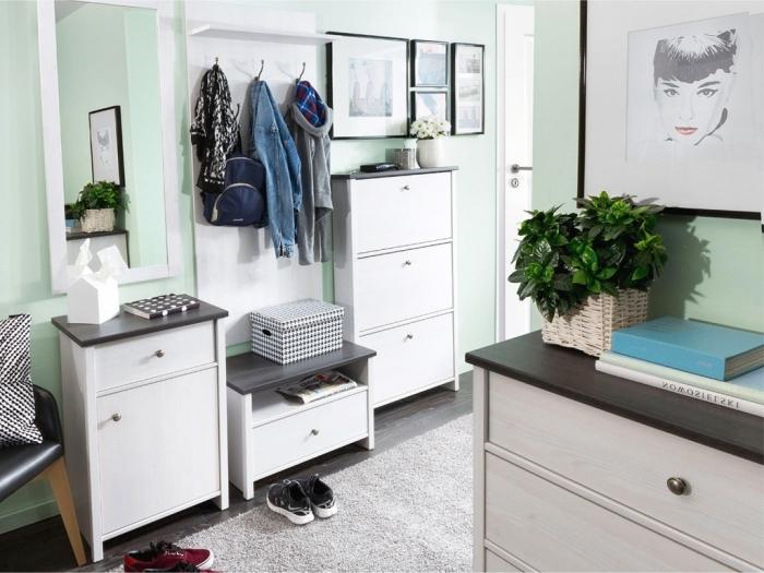 peinture interieur maison vert menthe meubles blanc et bois cadre photographie blanc et noir