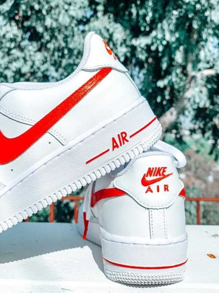 peinture rouge pour cuir nike air force 1 customiser facilement chaussures diy déco