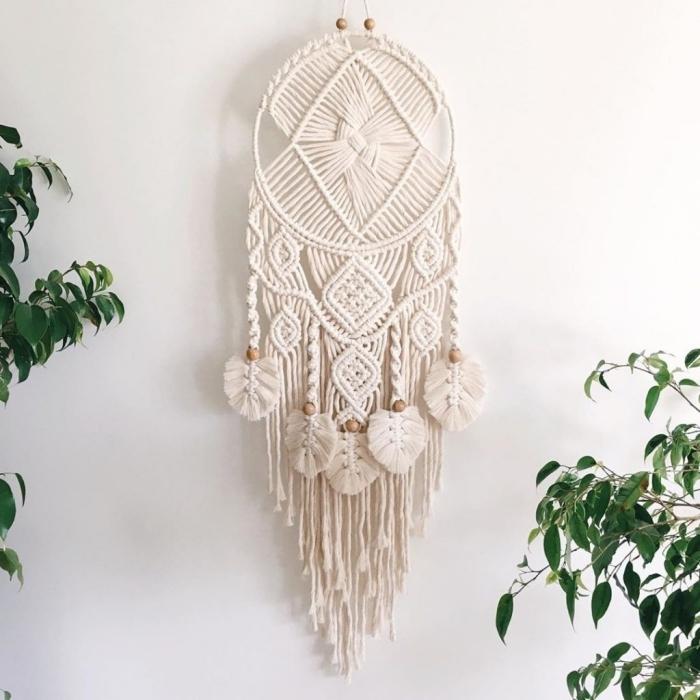 perles bois matériaux activité manuelle tissage mural facile noeuds attrape reve diy cordon blanc