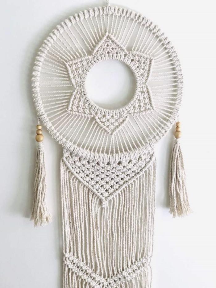 perles bois suspension diy murale fleur cercle bois macramé noeuds de base modele attrape reve