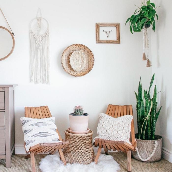 plantes vertes d intérieur style boho moderne pannier tressé déco mur attrape reve fait main corde blanche