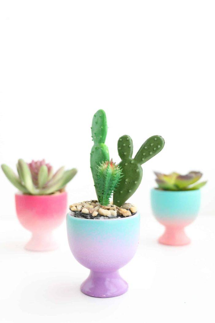 porte oeuf coloré de couleurs pastel idée pot de fleur succulents et cactus deco printemps originale