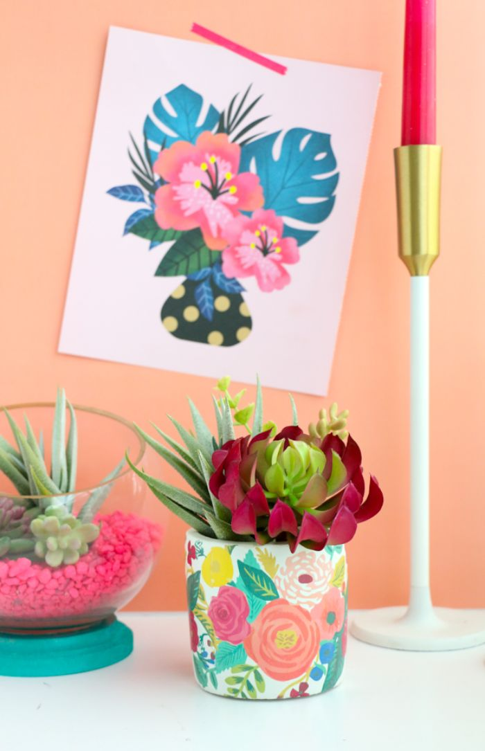 pot de fleur diy bricolage printemps adulte pot décoré de motif fleur tatouage papier idée loisirs creatifs adultes