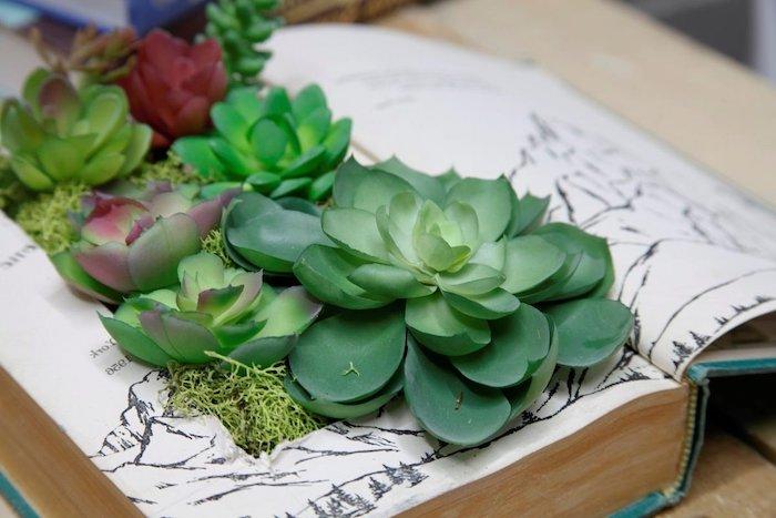 pots de fleurs originals et insolites crées a l aide des vieux livres avec des succulents posés en dedans