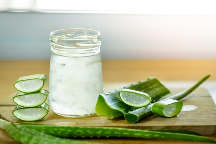 préparation boisson rafraîchissante aloe vera plante médicale feuille gel extrait pot jar verre jus eau