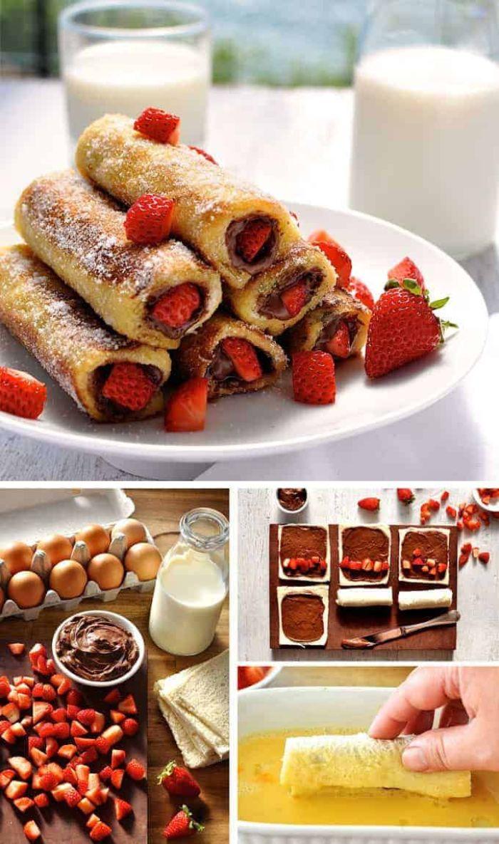 preparer pain perdu recette roulés nutella et fraises avec du pain exemple de petit dejeuner ideal