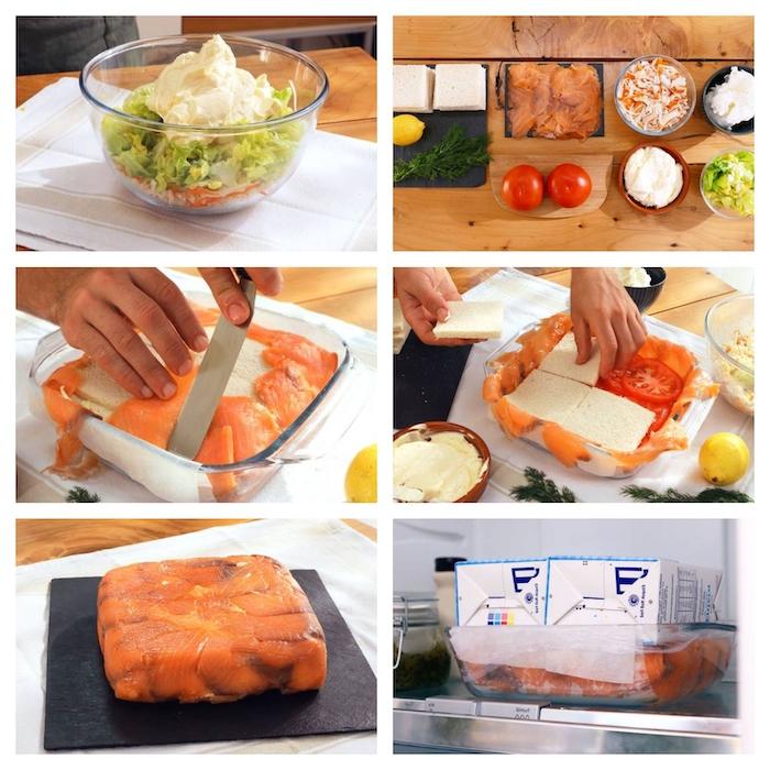 roulé saumon fumé en forme de tarte avec des tomates de mayonnaise et des surimis