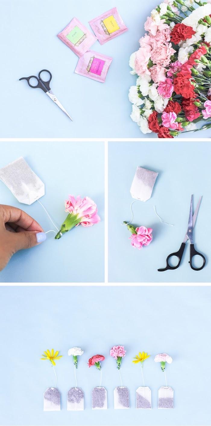 sachets de thé fleuries avec bouton de fleur attaché à l extrémité du fil activité fete des grand mere simple