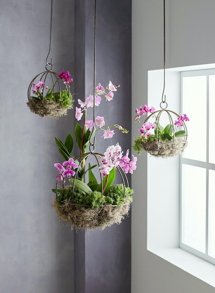 suspension pour plante en forme ronde décoré avec de la paille et rempli des orchides