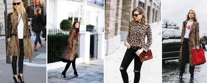 tendance mode femme pantalon slim noir chemise léopard manteau long motif animaliers