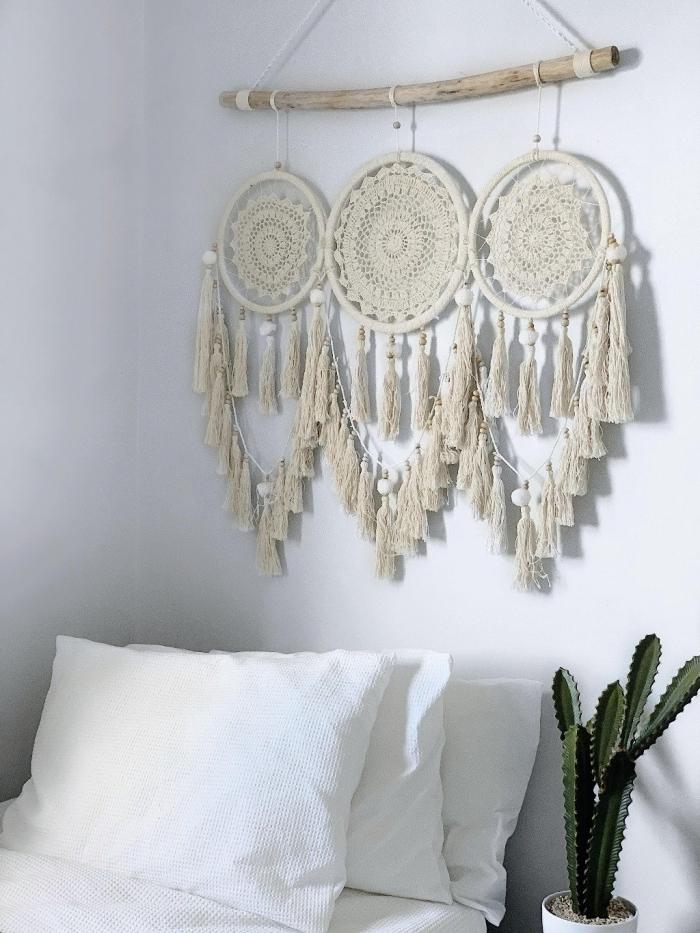 tete de lit macramé style bohème chic décoration chambre boho moderne cactus pot fleur blanc