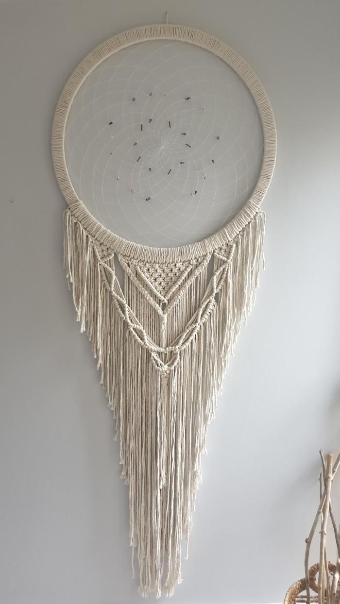 tissage main corde cotton naturel technique noeud macramé cercle bois en attrape reve crochet centre