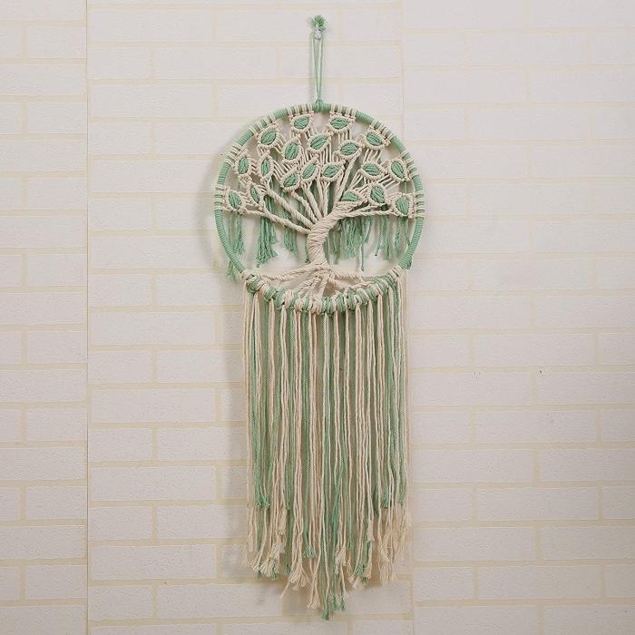 tuto attrape reve arbre de vie pour débutants modèle suspension murale cordon vert et beige attrape-rêve macramé