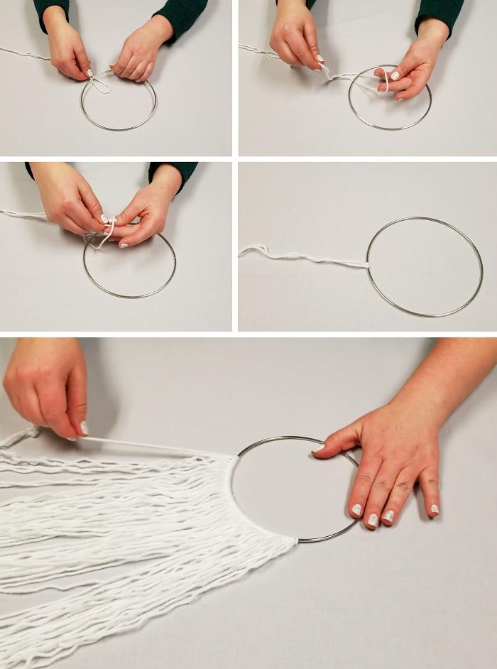 tutoriel comment faire un attrape reve macramé facile corde cercle a broder métal noeud tête alouette