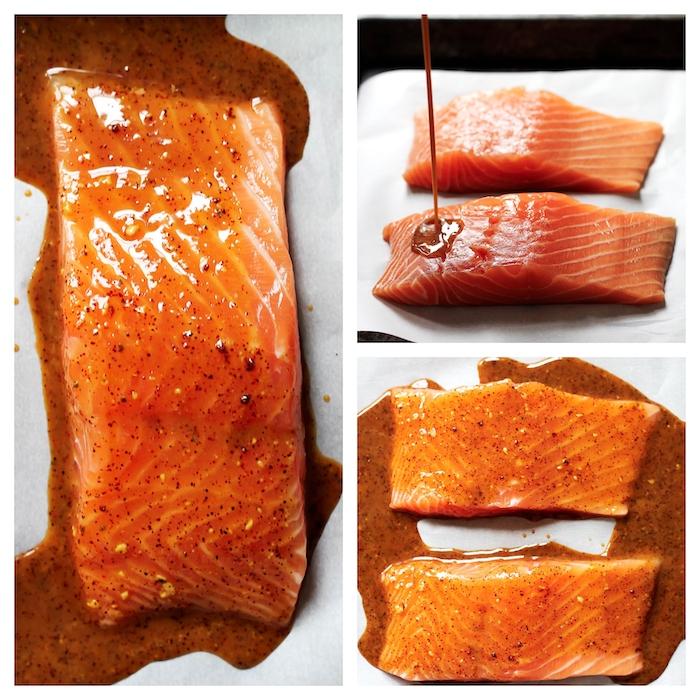 un saumon avec glacage d erable et de moutarde les etapes de cuisson a suivre