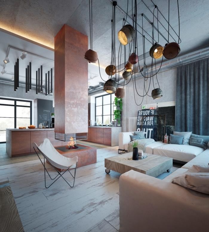 éclairage moderne rail lampe suspendue plafond effet béton canapé blanc deco loft moderne