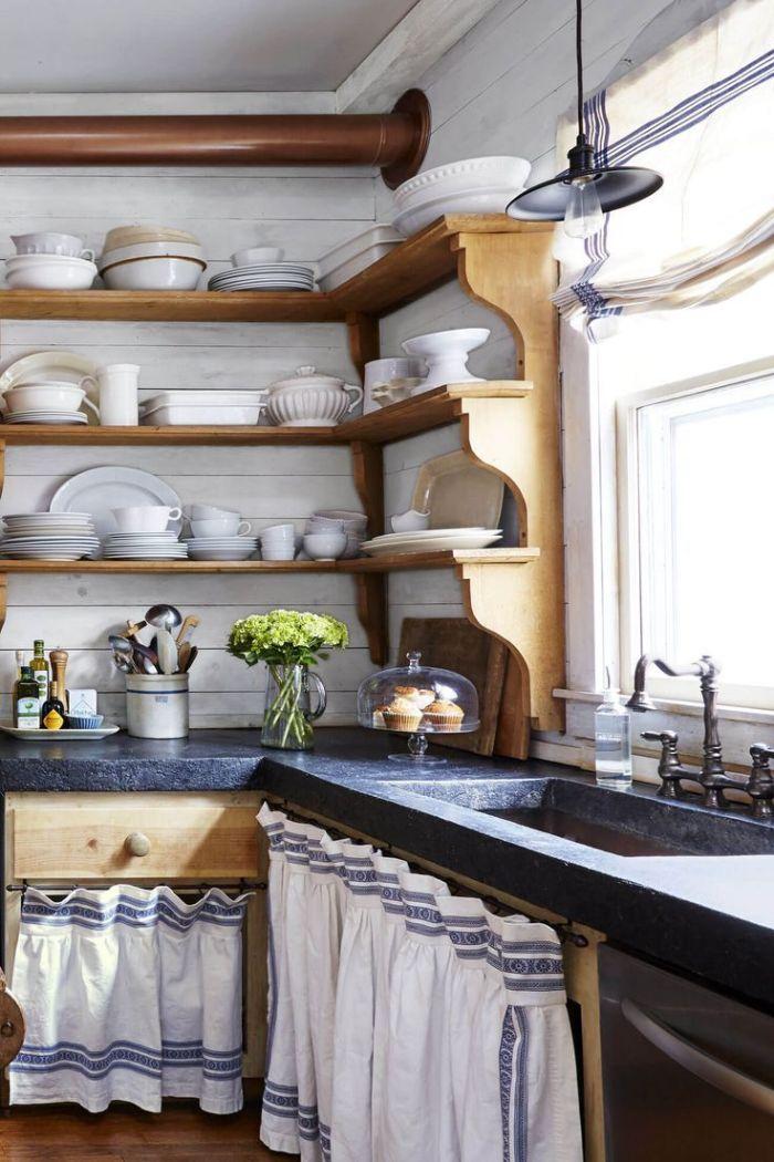 étagère d angle boiserie élégante meuble cuisine bois avec plan de travai bois et robinetterie vintage