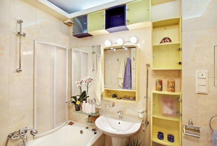 étagère pour salle de bain rangement vertical ouvert miroir avec armoire plante salle de bain douche