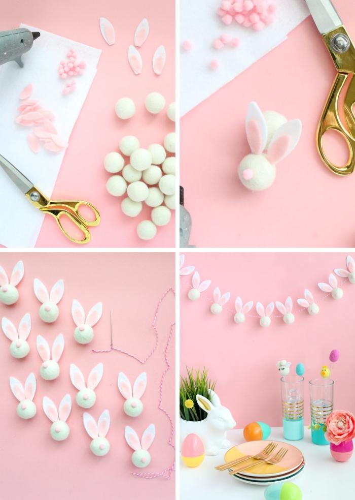 activité manuelle maternelle facile diy guirlande feutre lapins boules ciseaux fil loisir créatif pâques